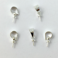 20 Silver plated 8x4mm glue on Top drilled Bails
